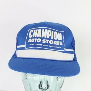Vintage Champion Auto Stores Roped Trucker Hat Cap